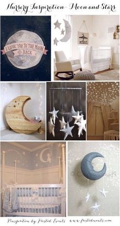 I love this moon and stars nursery inspiration board! This is such a cute nursery theme. #nursery
