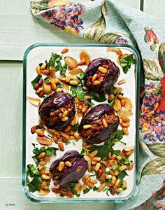 {Ramadan Special} – Fattet Makdous by Areej of 'On My Table' Mini Eggplant Recipe, Eggplant Recipes, Veggie Recipes, Cooking Recipes, Veggie Food, Cooking Tips, Ramadan Recipes, Ramadan Meals, Egyptian Food