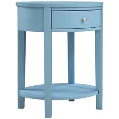 Perfect topped with a modern lamp or retro-chic clock, this 1-drawer nightstand showcases a rounded design and sky blue finish.  Pro...