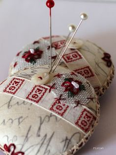 Minute pincushion: A combination of fabric and embroidery for a cute mini pincushion -- Clarissa