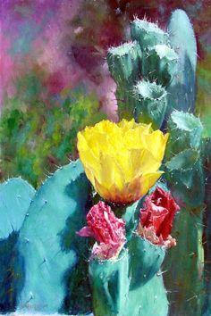 YELLOW CACTUS by Howard Scherer ORIGINAL oil  by KristensShoppe, $600.00