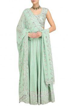 Anushka Khanna Mint Silver Embroidered Lehenga Set #happyshopping #shopnow #ppus