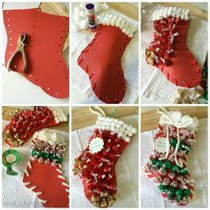 Stuffed Christmas Stockings, no sew craft project idea for kids, gift for neighbor, office party exchange, secret santa, or teachers...home decor, budget friendly, inexpensive, easy, fast, quick, fun! by SWEET HAUTE pin now.....read later!