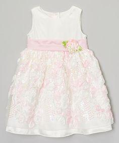 Rosenau Beck White & Pink Rosette Dress