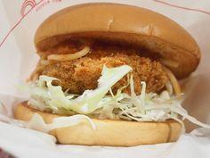 Spaghetti and pork cutlet burger at Mos Burger
