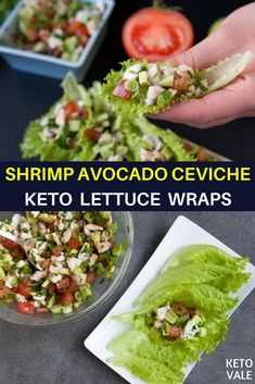 We wrap the Shrimp Avocado Ceviche with lettuce leaves. These flavorful and sensational ceviche wraps will make you want more. Here's how to prepare this tasty and easy dish. Keto Foods, Keto Snacks, Cena Keto, Shrimp Avocado, Keto Avocado, Ceviche Recipe, Avocado Recipes, Keto Meal Plan, Meal Prep