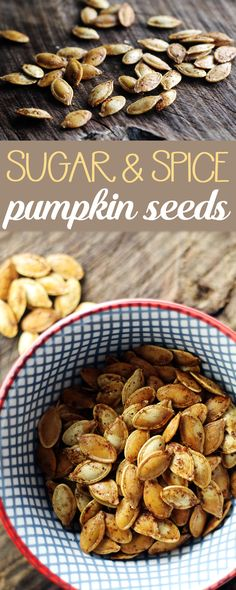gonna fall in love with Sugar Spice Roasted Pumpkin Seeds A little sweet a little spice. Perfect for the season . roastedpumpkinseeds via This Cook That Roasted Pumpkin Seeds, Roast Pumpkin, Pumpkin Spice Pumpkin Seeds, Sweet Pumpkin Seeds, Fall Recipes, Holiday Recipes, Snack Recipes, Yummy Recipes, Holiday Foods