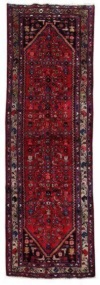 Persian Authentic Hamadan Handmade Runner Rug Size: 3 feet 3 inches x 9 feet 10 inches (300 x 100 cm) Date: 1980's Origin: Iran