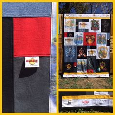 I had so much making this Hard Rock cafe memory quilt. The t shirts are from all over the world. I even included some of the tags from the t shirt necklines!