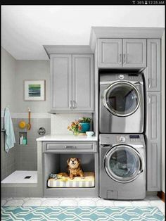 Awesome doggie bed & shower in the laundry room!