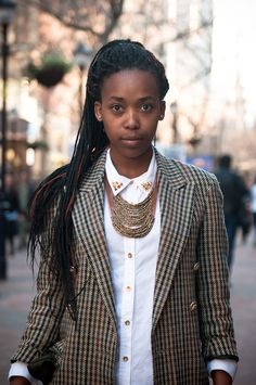 Loving the combination of blazer, button down, and chic necklace under the collar||Street Style in Cape Town