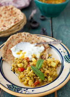 Four Grains Soup and Potato Stuffed Flatbread (Aloo Paratha) and Mint, Yogurt Dressing by Yelena Strokin, via Flickr