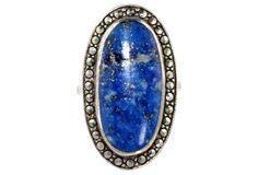 Silver Lapis Lazuli & Marcasite Ring