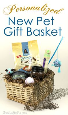 Gather up pet care essentials and create a customized gift basket to celebrate the adoption of a new pet.  #TheKimSixFix