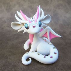 White and Pink Dragon by DragonsAndBeasties on Etsy