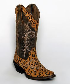 Look what I found on #zulily! Tanner Mark Boots Orix & Orange Leopard Studded Leather Cowboy Boots by Tanner Mark Boots #zulilyfinds