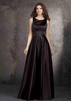 Long Black Satin Bridesmaid Dresses