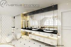 Projekt łazienki Inventive Interiors - jasna luksusowa łazienka z dodatkiem złota i czerni