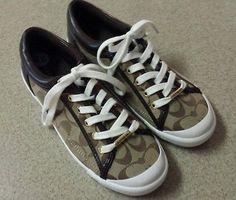 COACH Women's Shoes Francesca Low Top Logo Leather Sneakers Khaki Chestnut A5209