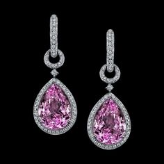 Luxurious purple pink kunzite earrings set in 18K white gold with white diamond micro pave accenting in a chain link mounting.