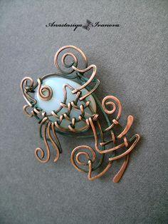 copper pendant with moonstone pendant fish Wire Pendant, Wire Wrapped Pendant, Wire Wrapped Jewelry, Moonstone Pendant, Handmade Wire, Brooches Handmade, Handcrafted Jewelry, Copper Jewelry, Wire Jewelry