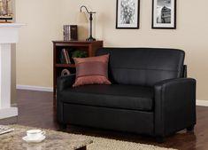 Black Faux Leather Sleeper Sofa