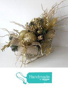 Gold Christmas decor centerpiece, Santa Sleigh, Holiday Table Décor, Christmas Arrangement, floral arrangement, holiday arrangement from LeopardDesigns https://www.amazon.com/dp/B017QEIE14/ref=hnd_sw_r_pi_dp_tGIeybC32DKD5 #handmadeatamazon