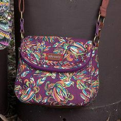 The #foldover #mini in our print of the month, Mulberry Treehouse! #sakroots #colorfulart #printofthemonth  Click link in bio to shop!