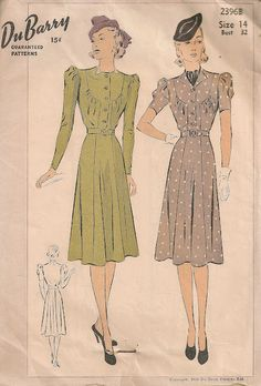 #Vintage DuBarry #sewing pattern from #1939.