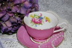 ROYAL YORK  Tea Cup and Sauer / Pink with floral