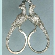 Antique English Sterling Silver Birds Embroidery Scissors Circa 1850