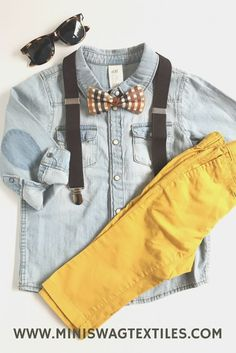 Yellow Bears on Bicycles Patterned Kids Clip Suspenders