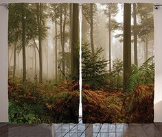 Foggy Forest Scenery with Sunrays Reflecting on Trees Mystic Woodland Image 70 Inches Orange Green Fabric Bathroom Decor Set with Hooks Ambesonne Nature Shower Curtain