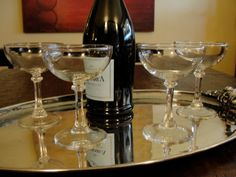 4 Elegant Stem Champagne Coupes  4 Cocktail Glasses by SalonDuThe