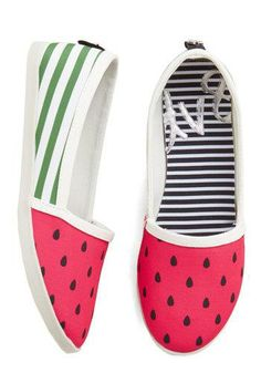 MAY COL: Until We Sweet Again Flat. Give visiting pals a merry memory by hosting a going-away picnic in these watermelon flats from DV by Dolce Vita! Cute Flats, Cute Shoes, Me Too Shoes, Watermelon Shoes, Espadrilles, Hand Painted Shoes, Prom Shoes, Novelty Print, Modcloth