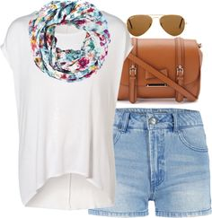 Eleanor inspired babysitting outfit  Short sleeve tee / ONLY high waisted shorts, $9.80 / Leather handbag / Ray-Ban ray ban sunglasses / Warehouse Vintage Floral Snood, $16
