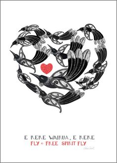 Fly Free Spirit, Fly by Amber Smith - blocks Maori Symbols, Bird Quotes, Maori Designs, New Zealand Art, Nz Art, Maori Art, Machine Embroidery Projects, Kiwiana, Bird Pictures