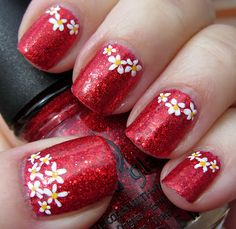 Glittery Red Flower Half Moon Mani