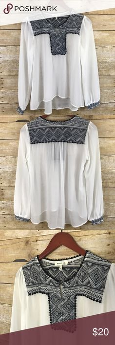 Monteau Embroidered Ivory Sheer Blouse SZ M So cute! Sheer white/Ivory log sleeve peasant boho top with dark blue embroidery at top and at cuffs. Flowy festival vibes. Size medium. See pics for measurements. Monteau Tops Blouses