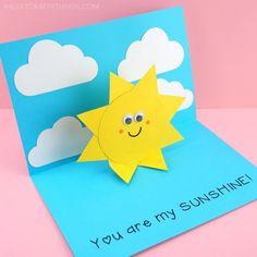 You are my Sunshine Card -Easy Pop Up Sun Card Template!