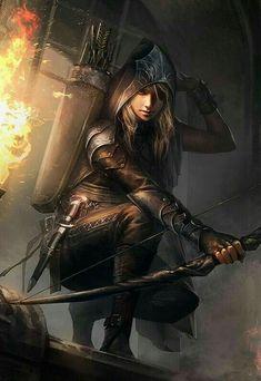 Female archer / ranger / ranged assasin RPG character inspiration for DnD / Pathfinder / fantasy games Fantasy Warrior, Fantasy Girl, Fantasy Women, Dark Fantasy, Elf Warrior, Warrior Women, Fantasy Rpg, Dnd Characters, Fantasy Characters