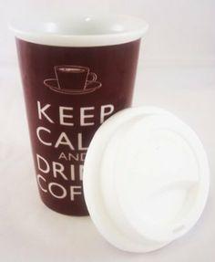 "Tasse Mug à Emporter en Céramique - ""Keep Calm and Drink Coffee"": Amazon.fr: Cuisine & Maison"