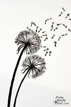 Tutorial for Painting Dandelion Wall Graphic. Another idea for a watercolour painting! Art Plastique, Painting Techniques, Art Tutorials, Painting Inspiration, Diy Art, Painting & Drawing, Wall Drawing, Art Drawings, Flower Drawings