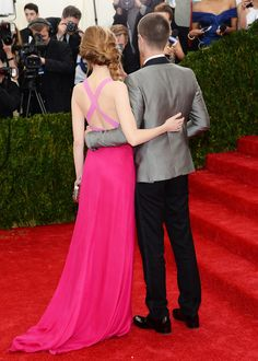 Andrew Garfield and Emma Stone attend the 'Charles James: Beyond Fashion' Costume Institute Gala at the Metropolitan Museum of Art on May 5, 2014