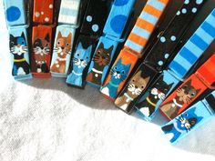 10 CAT CLOTHESPINS hand painted magnets by SugarAndPaint on Etsy