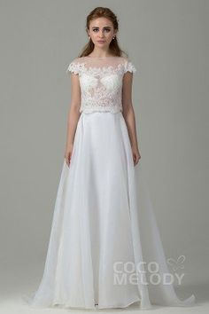 Romantic Sheath-Column Illusion Natural Train Organza Ivory Cap Sleeve Zipper With Button Wedding Dress with Appliques #weddingdress #cocomelody