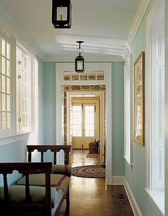 Peter Zimmerman Architects: Love the crisp clean colors of this entryway. The blue wall color is perfect--not too ...