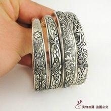 Retro Tibet tibetano de plata Totem brazalete tallado Cuff Vintage brazalete estrecho(China (Mainland))