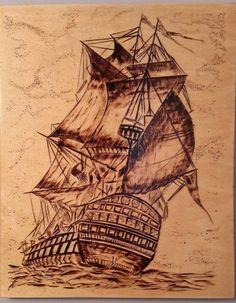 pyrography ship