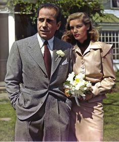 Humphrey Bogart and Lauren Bacall on their wedding day, May 21, 1945 - Bogart was 45 and Bacall was 20... they remained married until Bogart's death.